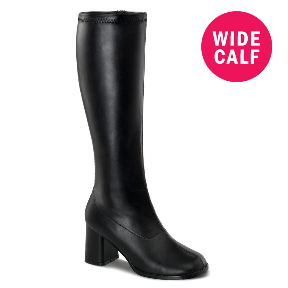 "3"" Heel GOGO-300WC Black Pu  (Wide Calf)"