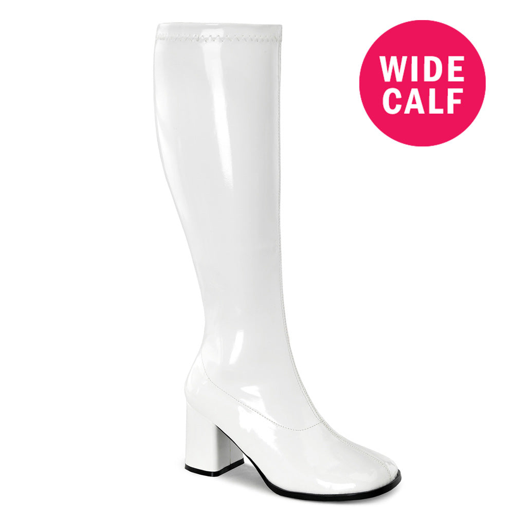 "3"" Heel GOGO-300WC White Pat (Wide Calf)"