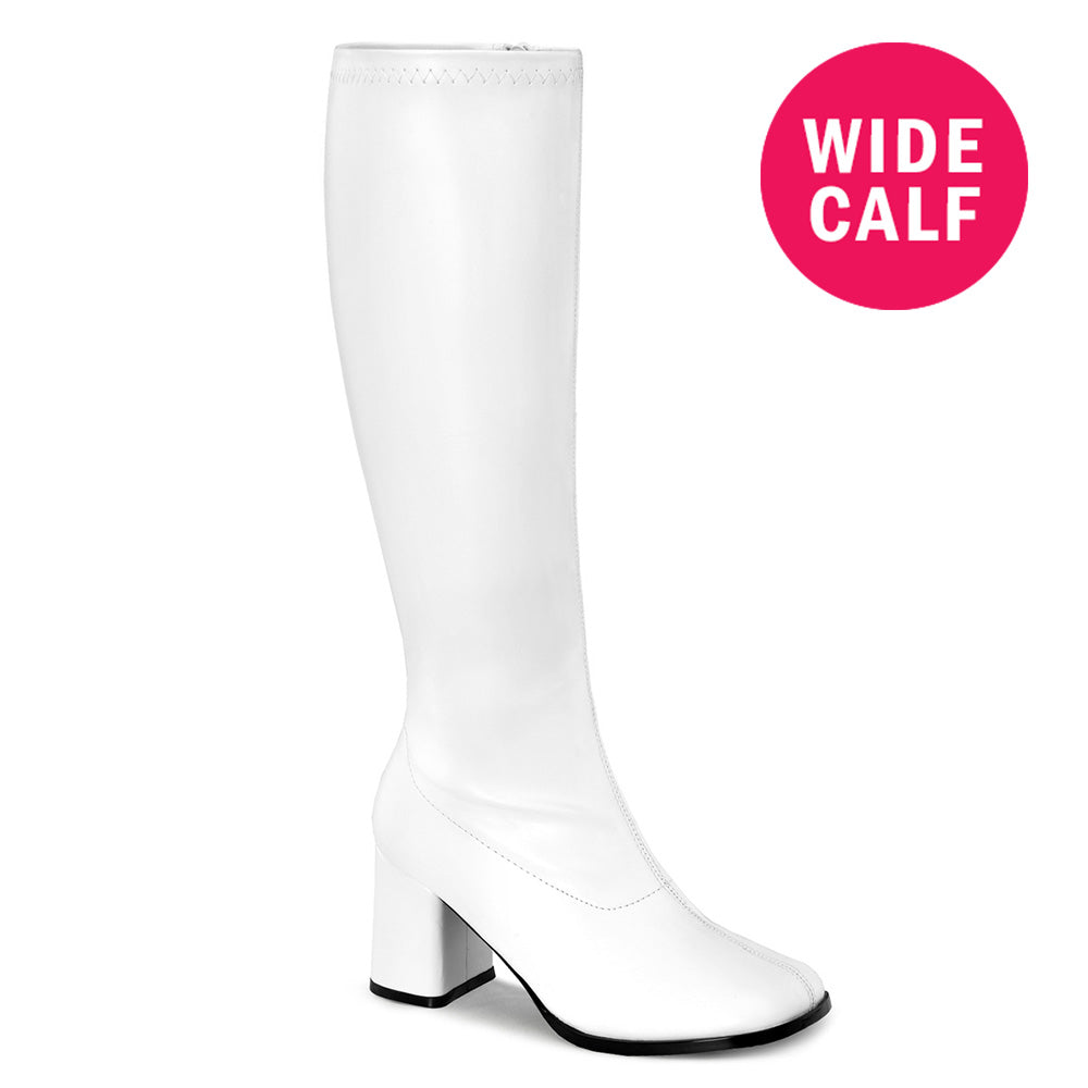 "3"" Heel GOGO-300WC White Pu (Wide Calf)"