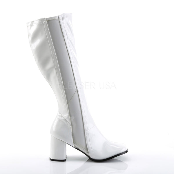 Funtasma GOGO-303 White Stretch Patent-Clear Tpu Gogo Boots