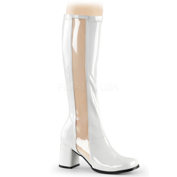 Funtasma GOGO-303 White Stretch Patent-Clear Tpu Gogo Boots - Shoecup.com