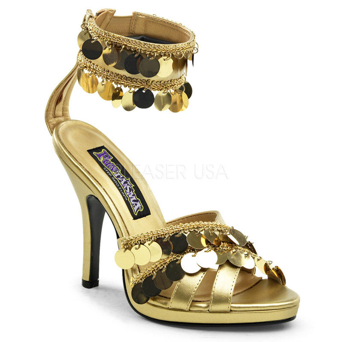 FUNTASMA GYPSY-03 Gold Pu Sandals - Shoecup.com
