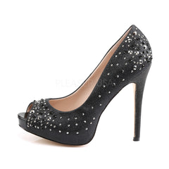 FABULICIOUS HEIRESS-22R Black Shimmering Fabric Peep Toe Pumps