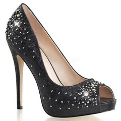 FABULICIOUS HEIRESS-22R Black Shimmering Fabric Peep Toe Pumps - Shoecup.com