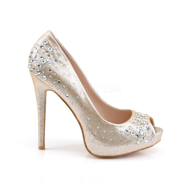 FABULICIOUS HEIRESS-22R Nude Shimmering Fabric Peep Toe Pumps