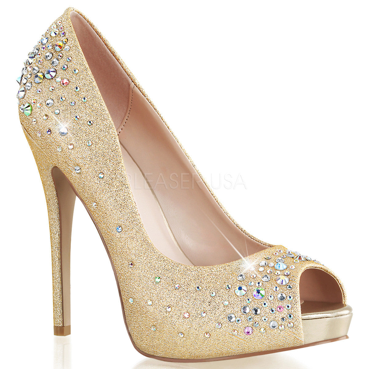 FABULICIOUS HEIRESS-22R Nude Shimmering Fabric Peep Toe Pumps - Shoecup.com