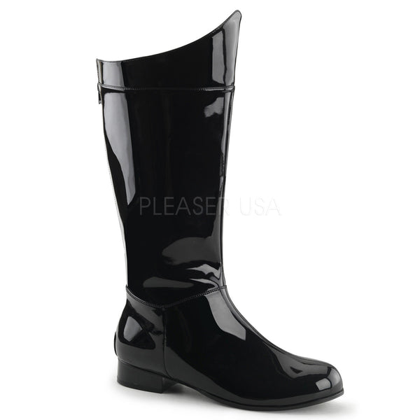 Men's Black Pat Superhero Boots - Shoecup.com