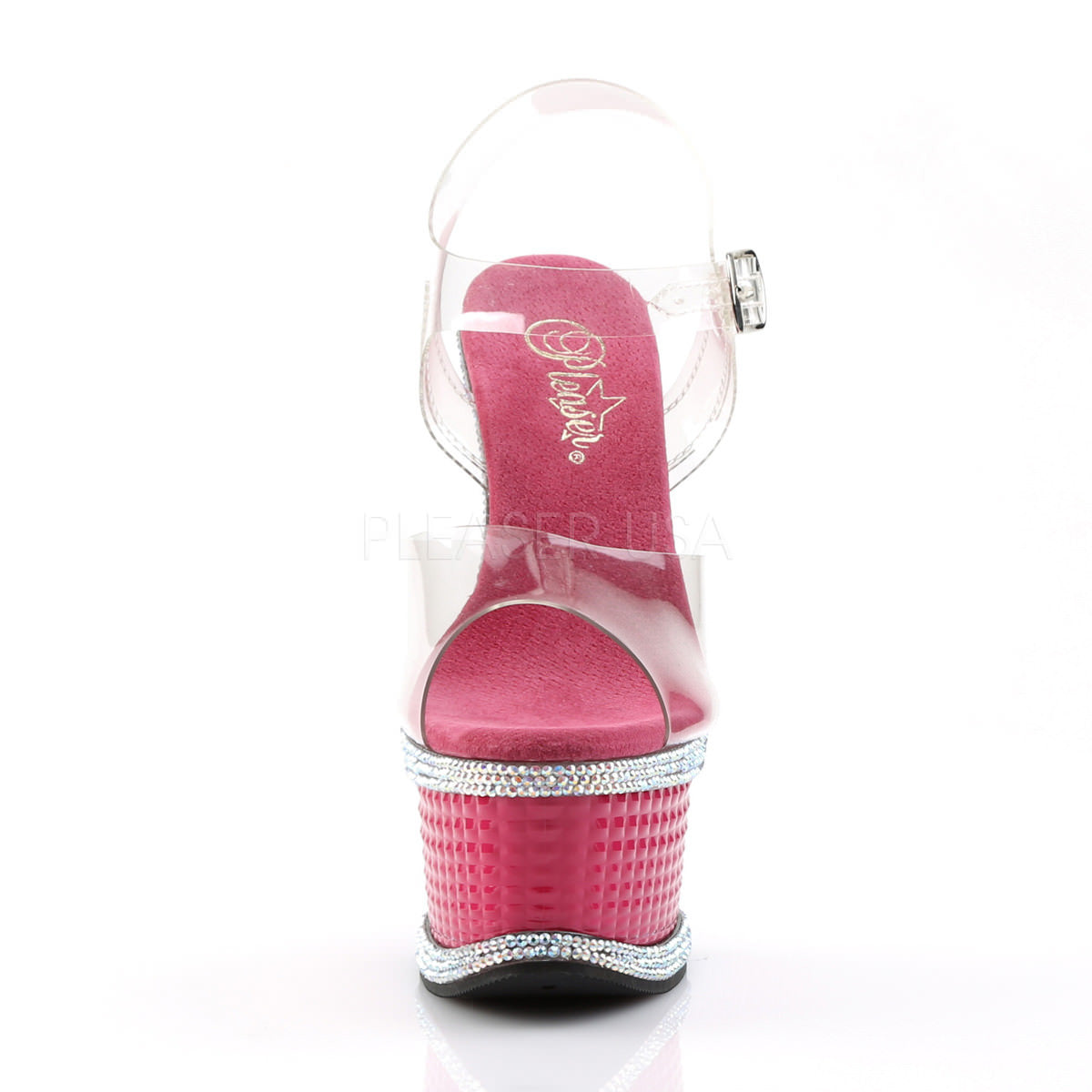 d2d5e6deea424a Pleaser ILLUSION-658RS Clear Ankle Strap Sandals With Hot Pink Platform.  Previous