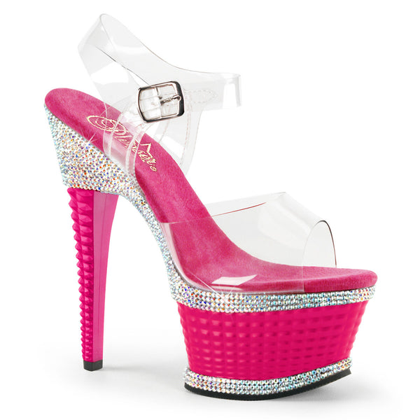 bf418fe9eb787 Pleaser ILLUSION-658RS Clear Ankle Strap Sandals With Hot Pink Platform
