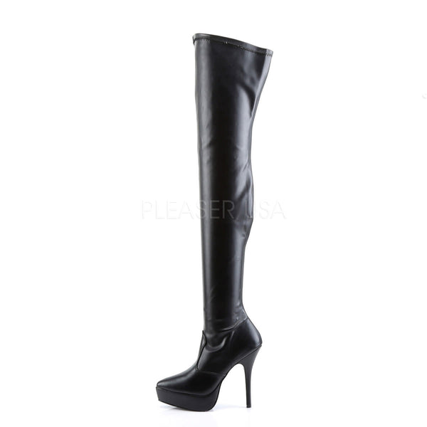 DEVIOUS INDULGE-3000 Black Stretch Pu Thigh High Boots