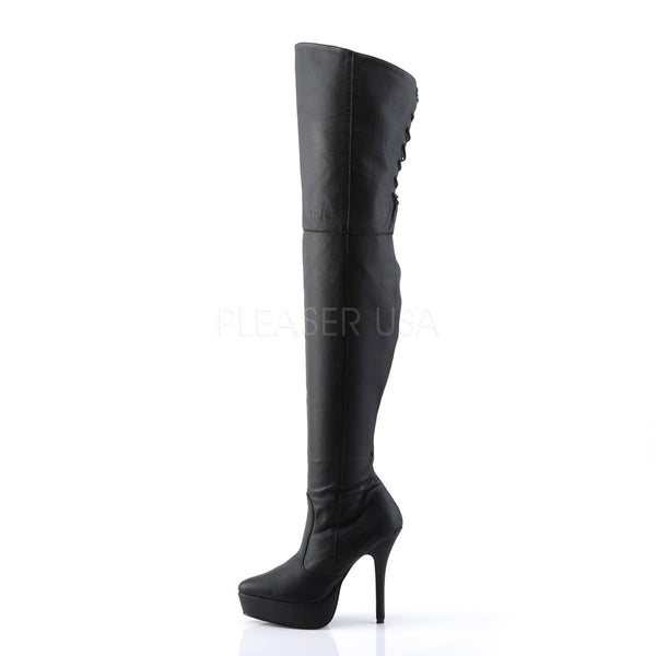 DEVIOUS INDULGE-3011 Black Leather Thigh High Boots
