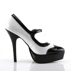 DEVIOUS INDULGE-542 Black-White Pat Maryjane Pumps