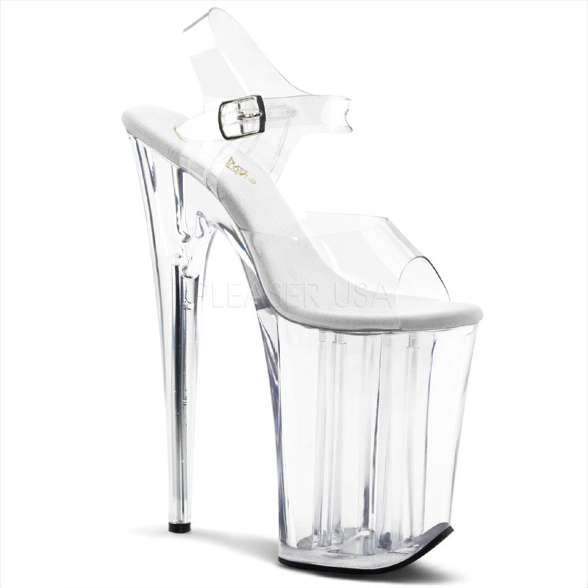 PLEASER INFINITY-908 Clear 9 Inch Heel Sandals - Shoecup.com - 1