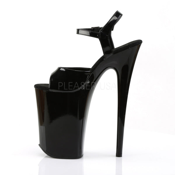 PLEASER INFINITY-909 Black 9 Inch Heel Ankle Strap Sandals - Shoecup.com - 3