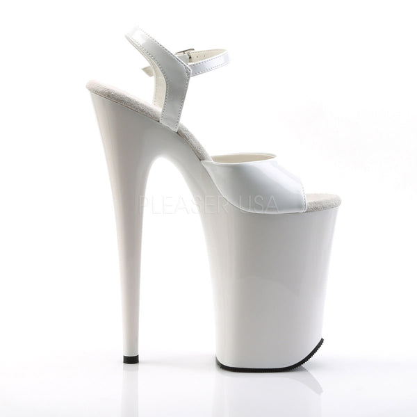 PLEASER INFINITY-909 White 9 Inch Heel Ankle Strap Sandals