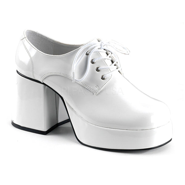 Men's White Pat Disco 70s Platform Retro Costume Shoes - Shoecup.com