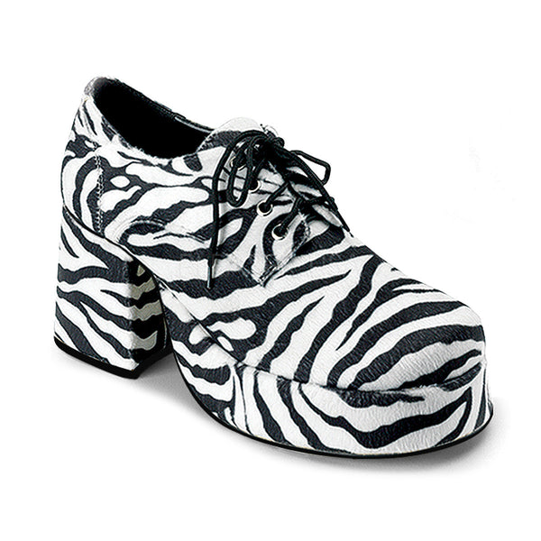 b14aa87d53 Men's Zebra Fur Disco 70s Platform Retro Costume Shoes - Shoecup.com