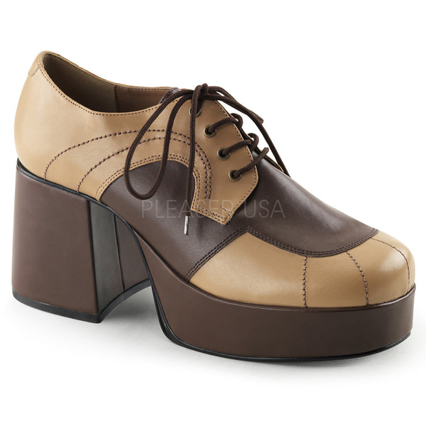 0bcbd55ddd Men's Tan-Brown Disco 70s Platform Retro Costume Shoes - Shoecup.com