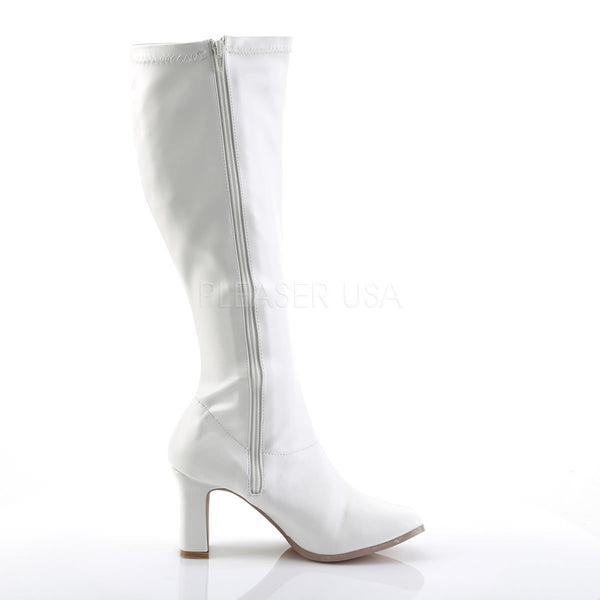 FUNTASMA KIKI-350 White Stretch Pu Gogo Boots