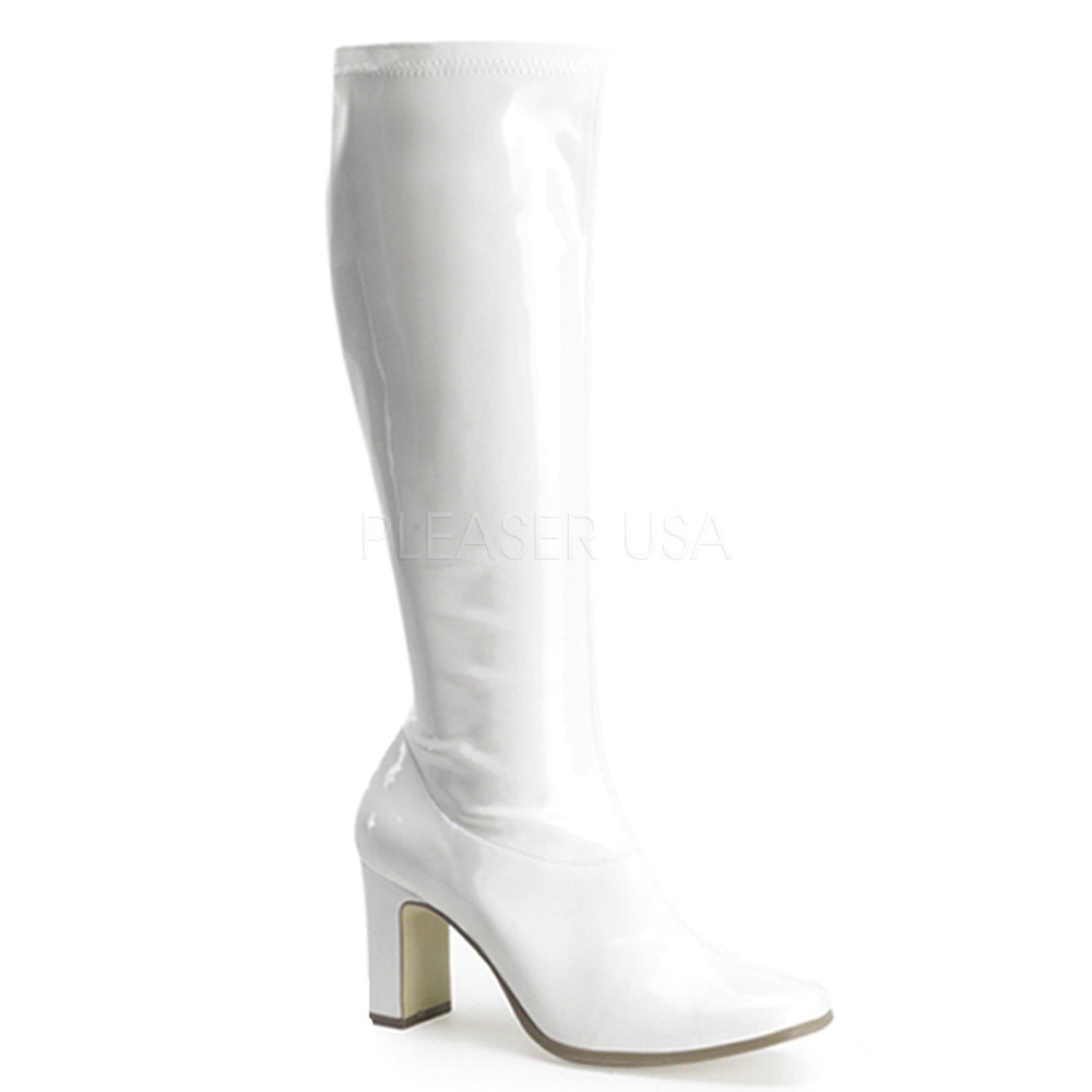 FUNTASMA KIKI-350 White Stretch Pat Gogo Boots