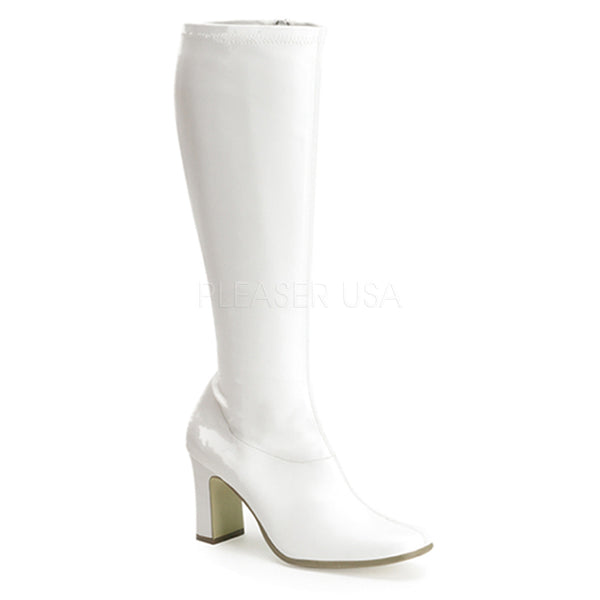 FUNTASMA KIKI-350 White Stretch Pu Gogo Boots - Shoecup.com