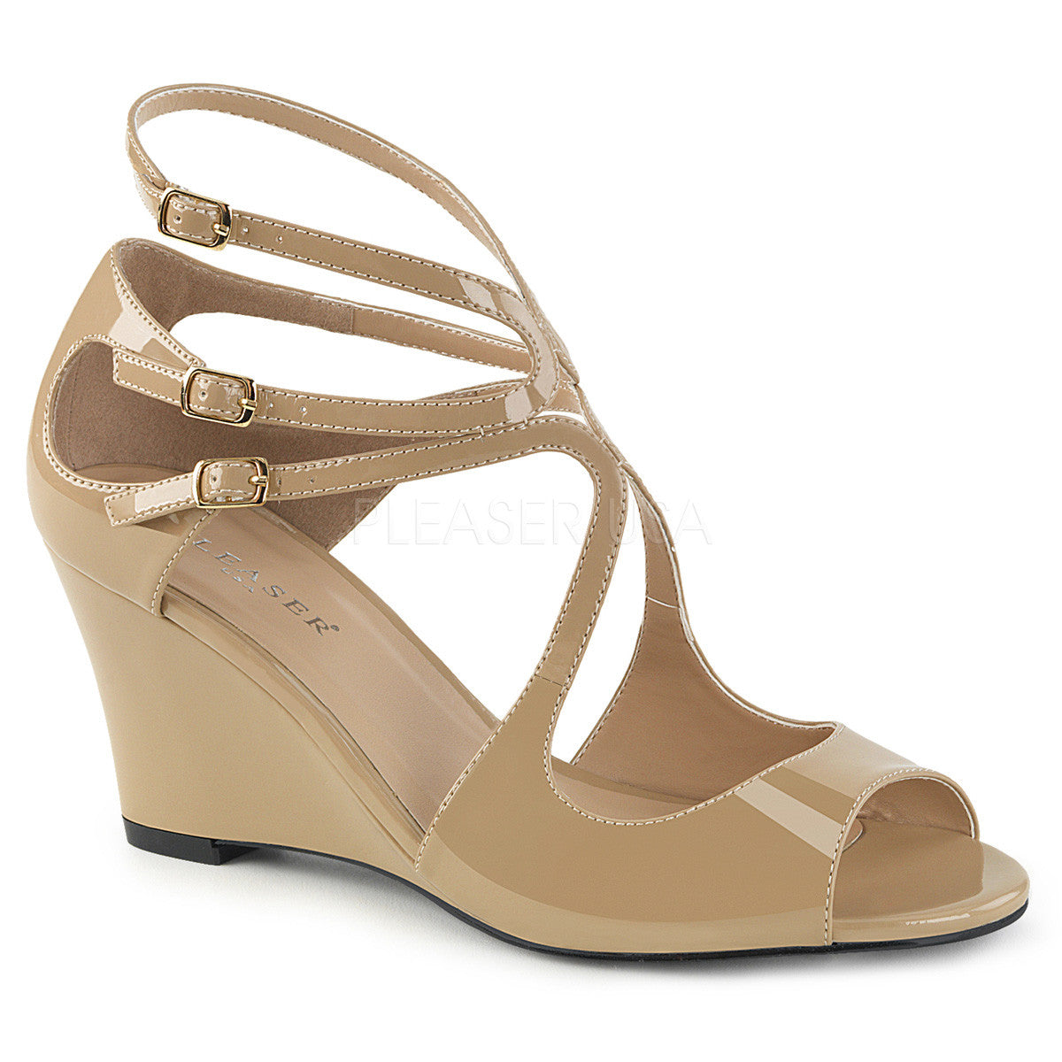 04ea3525cac3 Pleaser Pink Label KIMBERLY-04 Cream Pat Wedge Sandals - Shoecup.com