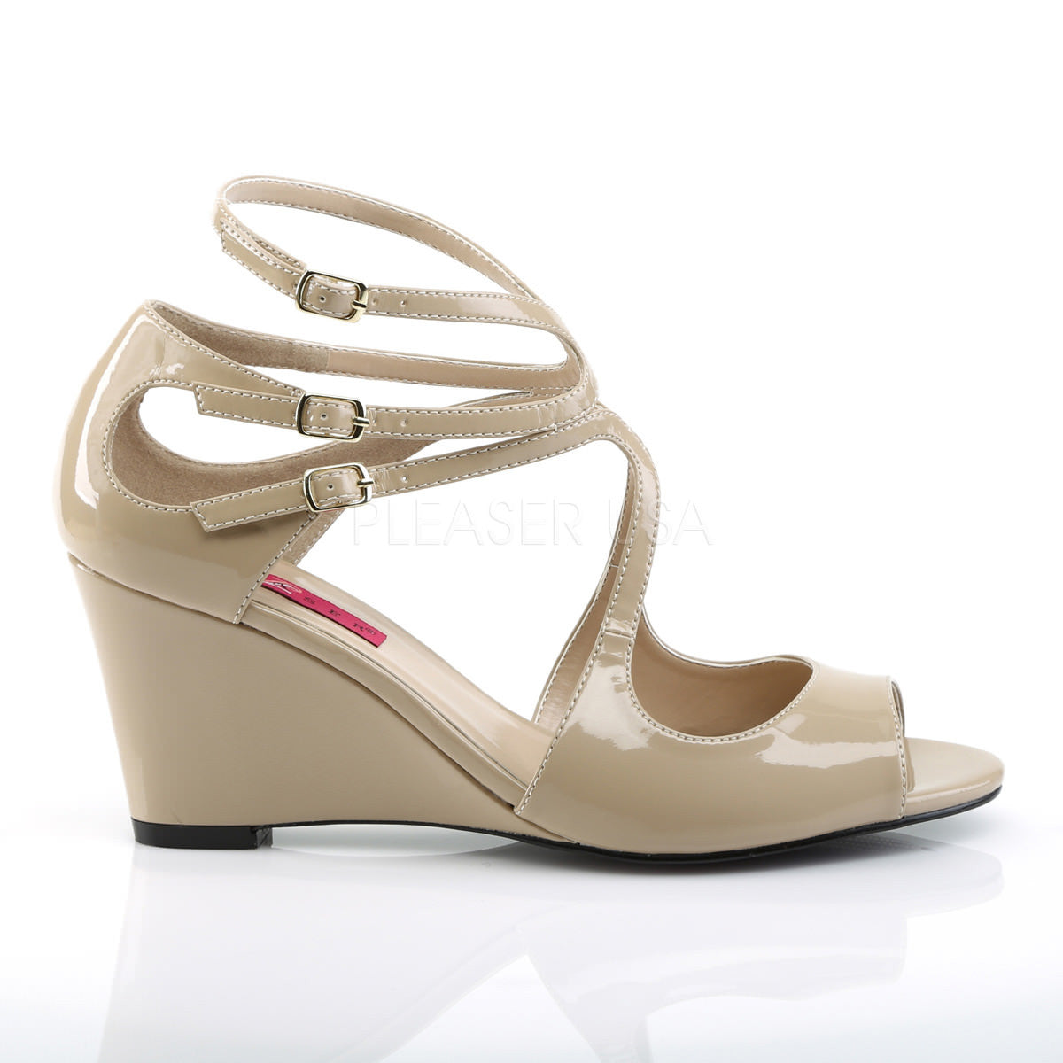7ef449091a8e4a Pleaser Pink Label KIMBERLY-04 Cream Pat Wedge Sandals