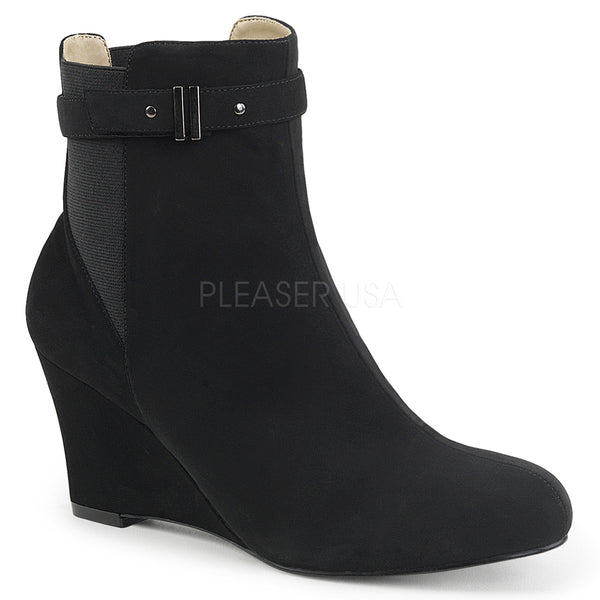 Pleaser Pink Label KIMBERLY-102 Black Nubuck Suede Ankle Boots - Shoecup.com