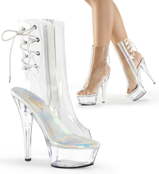 Pleaser KISS-1018C Clear Ankle Boots With Clear Platform - Shoecup.com