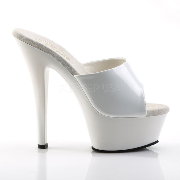 PLEASER KISS-201 White Platform Sandals