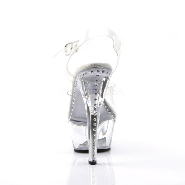 PLEASER KISS-208LS Clear Ankle Strap Sandals