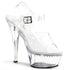 PLEASER KISS-208LS Clear Ankle Strap Sandals - Shoecup.com