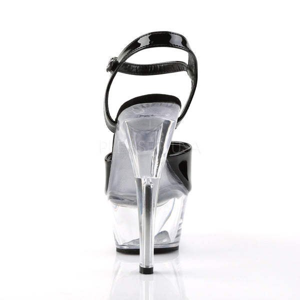 PLEASER KISS-209 Black Pat-Clear Platform Sandals
