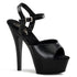 PLEASER KISS-209 Black Leather-Black Ankle Strap Sandals - Shoecup.com
