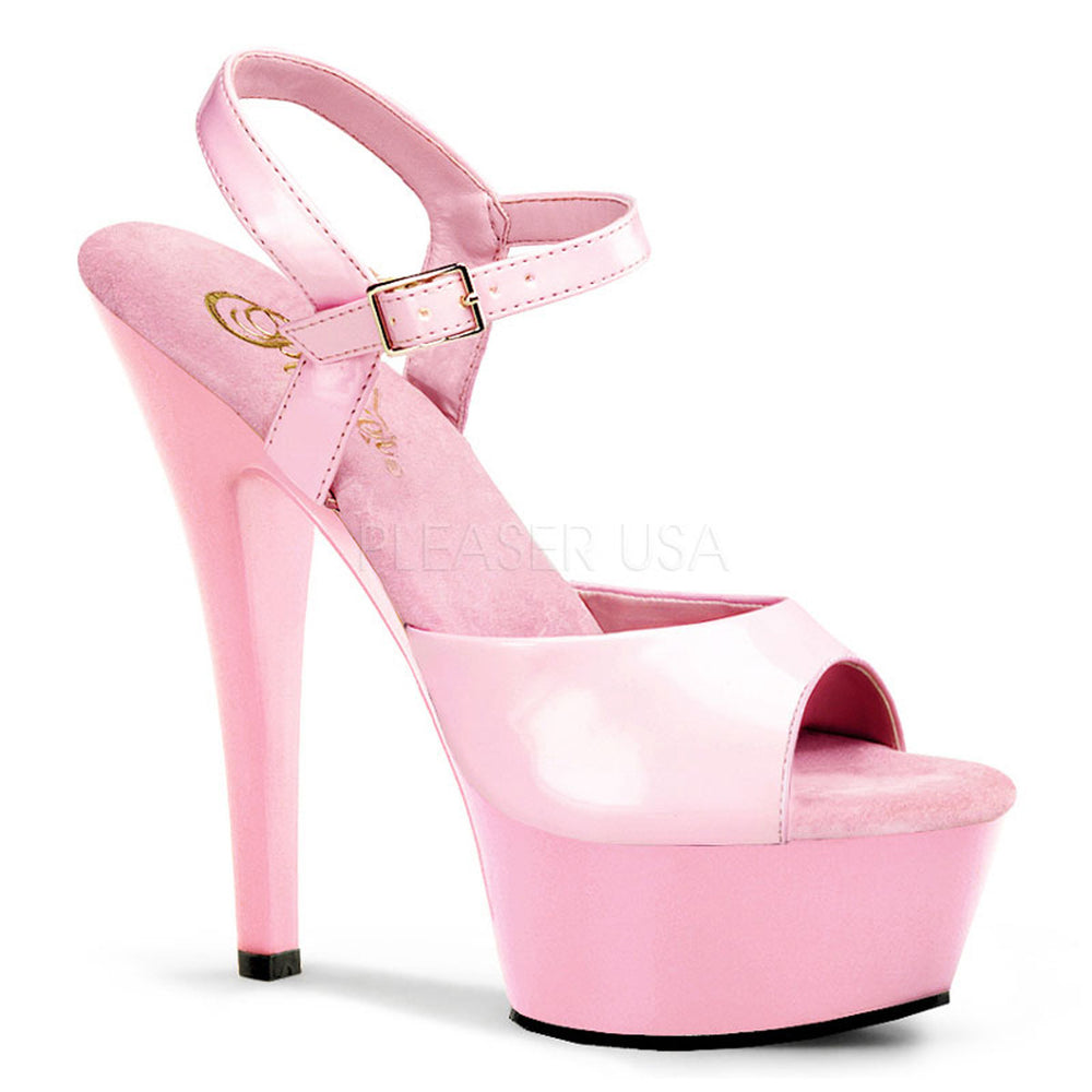 PLEASER KISS-209 Baby Pink Pat-Baby Pink Ankle Strap Sandals