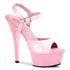 PLEASER KISS-209 Baby Pink Pat-Baby Pink Ankle Strap Sandals - Shoecup.com