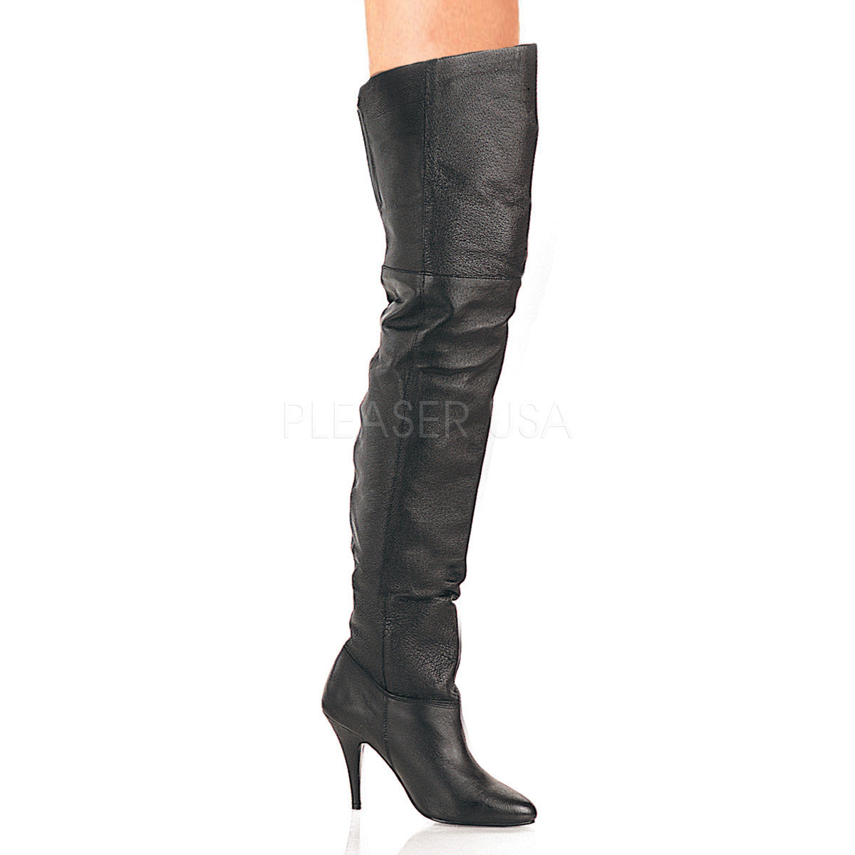 PLEASER LEGEND-8868 Black Leather Thigh High Boots - Shoecup.com