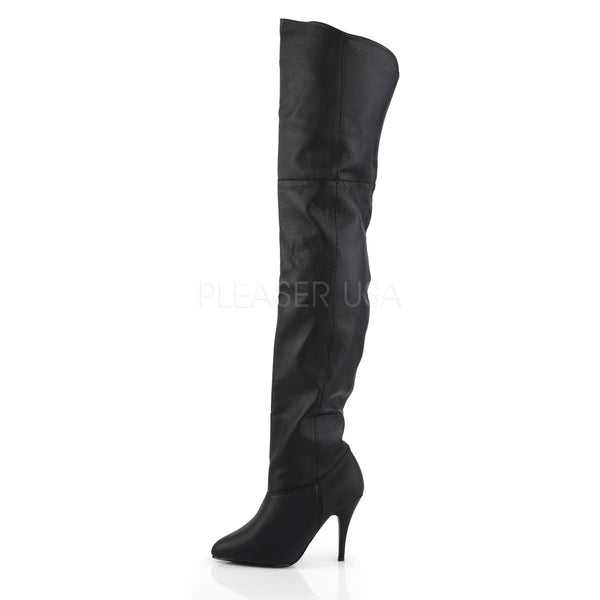 PLEASER LEGEND-8868 Black Leather Thigh High Boots