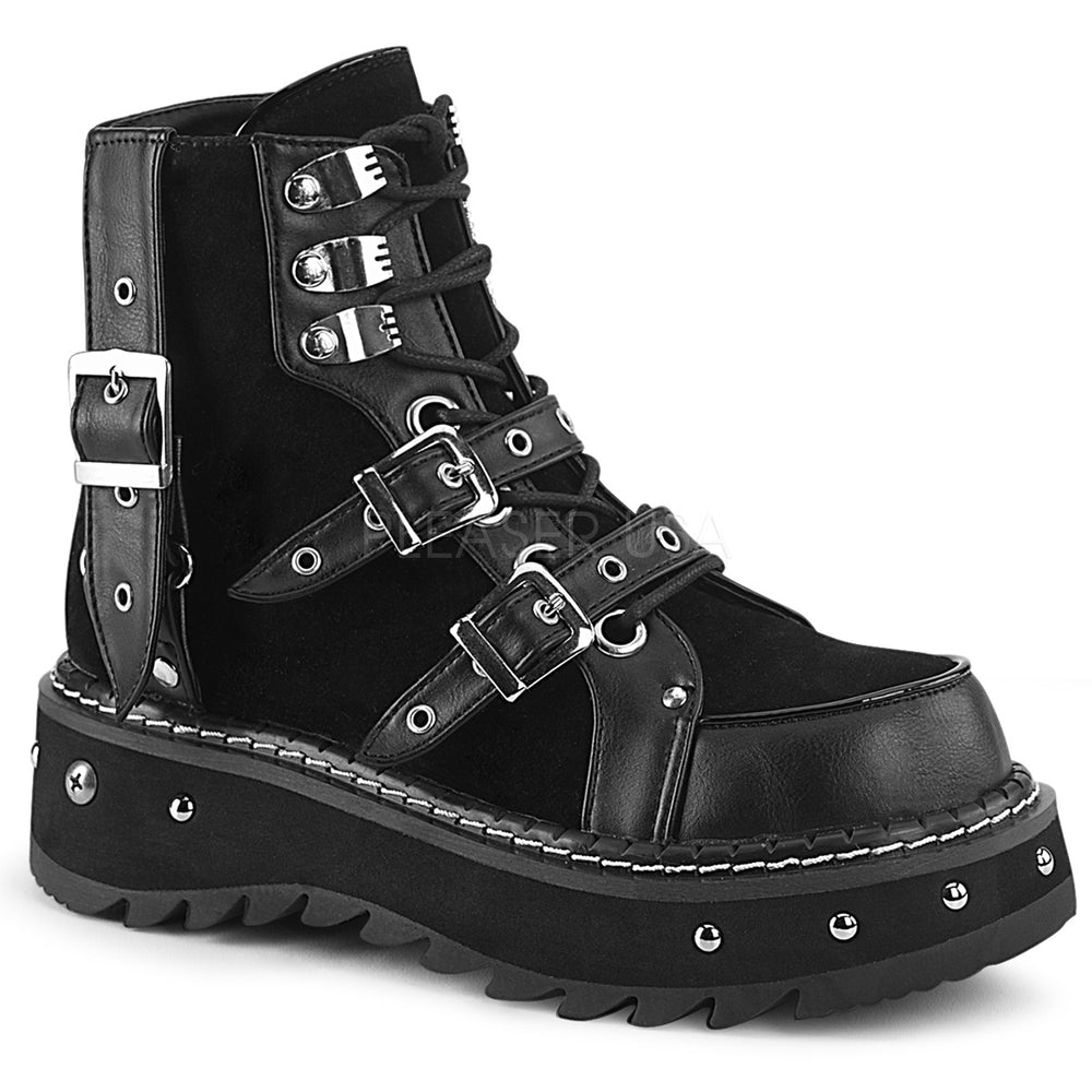 "1"" Platform LILITH-278 Black Vegan Leather"