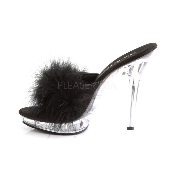 FABULICIOUS LIP-101-8 Black Satin-Fur-Clear Slipper
