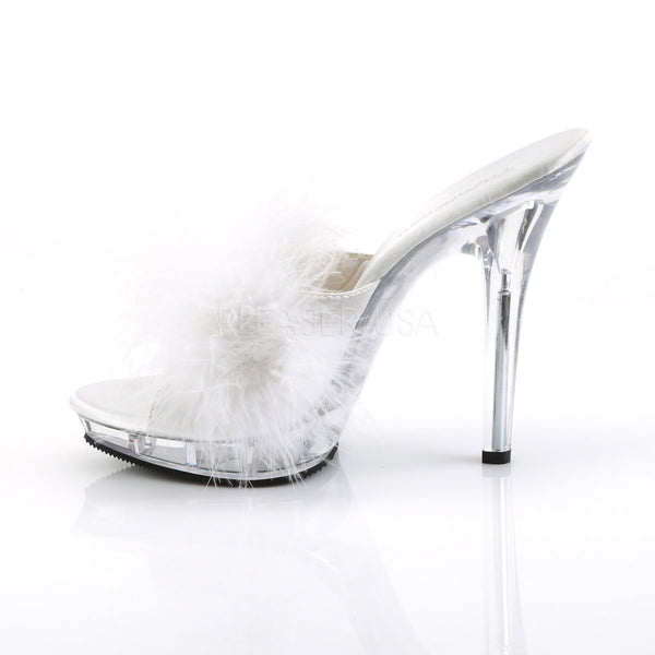 FABULICIOUS LIP-101-8 Wht Satin-Fur-Clear Slipper