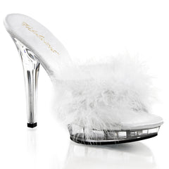 FABULICIOUS LIP-101-8 Wht Satin-Fur-Clear Slipper - Shoecup.com