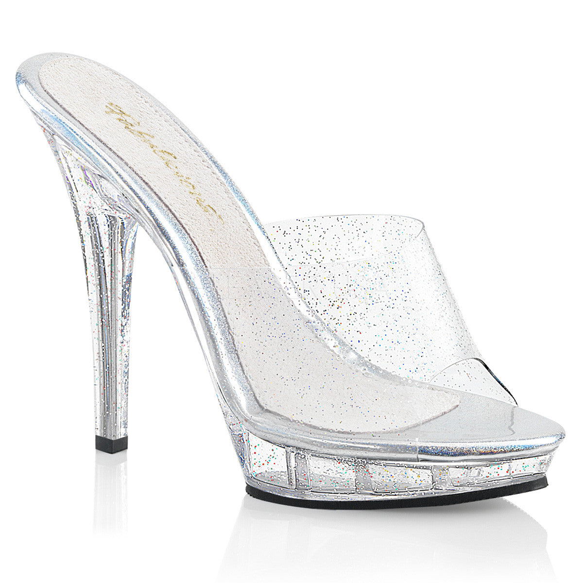 "5"" (12.7cm) Heel, 3/4"" (1.9cm) Platform Slide Featuring Mini Iridescent Glitters on the Entire Upper & Bottom"
