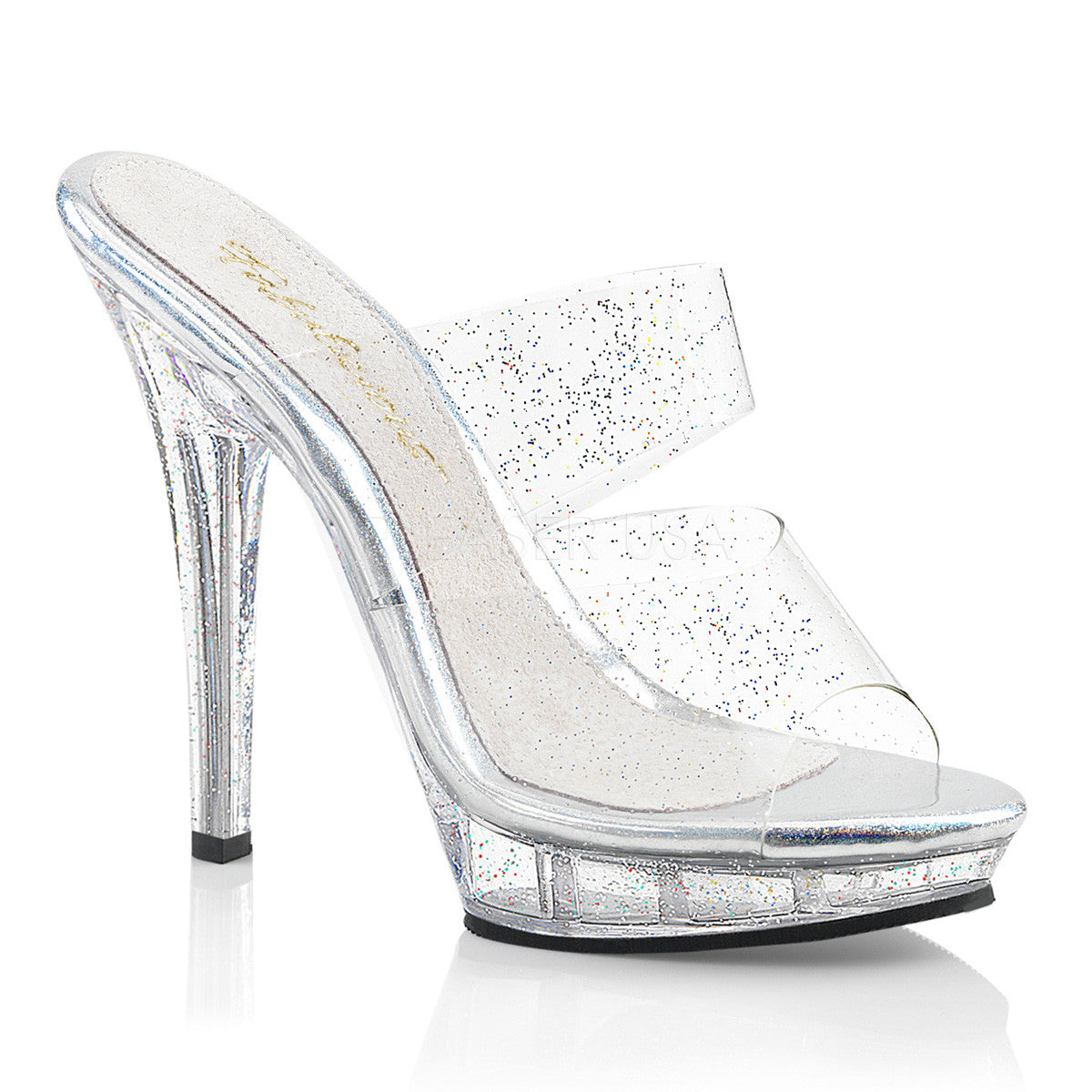 "5"" (12.7cm) Heel, 3/4"" (1.9cm) Platform Two Band Slide Featuring Mini Iridescent Glitters on the Entire Upper & Bottom"