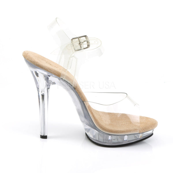 FABULICIOUS LIP-108 Clear-Tan-Clear Ankle Strap Sandals