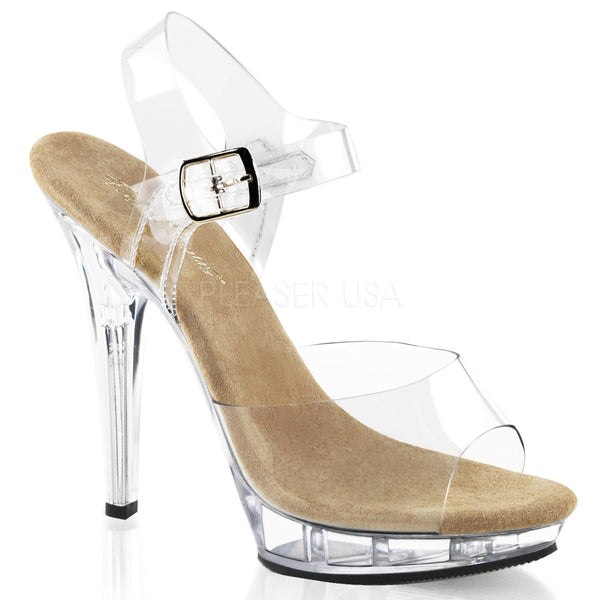 FABULICIOUS LIP-108 Clear-Tan-Clear Ankle Strap Sandals - Shoecup.com