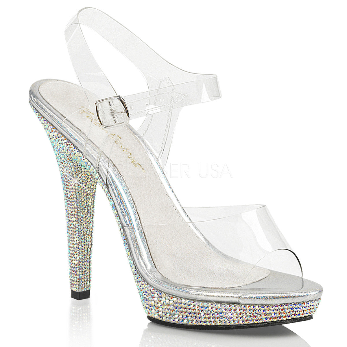 Fabulicious LIP-108DM Silver Ankle Strap Sandals With Rhinestones Bottom - Shoecup.com