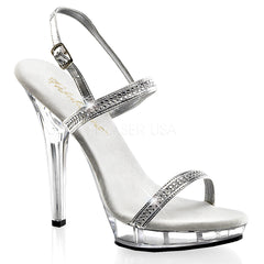 FABULICIOUS LIP-117 Silver Metallic Pu-Clear Sandals - Shoecup.com