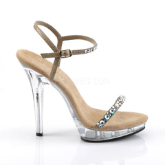 FABULICIOUS LIP-131 Taupe Pu-Clear Ankle Strap Sandals