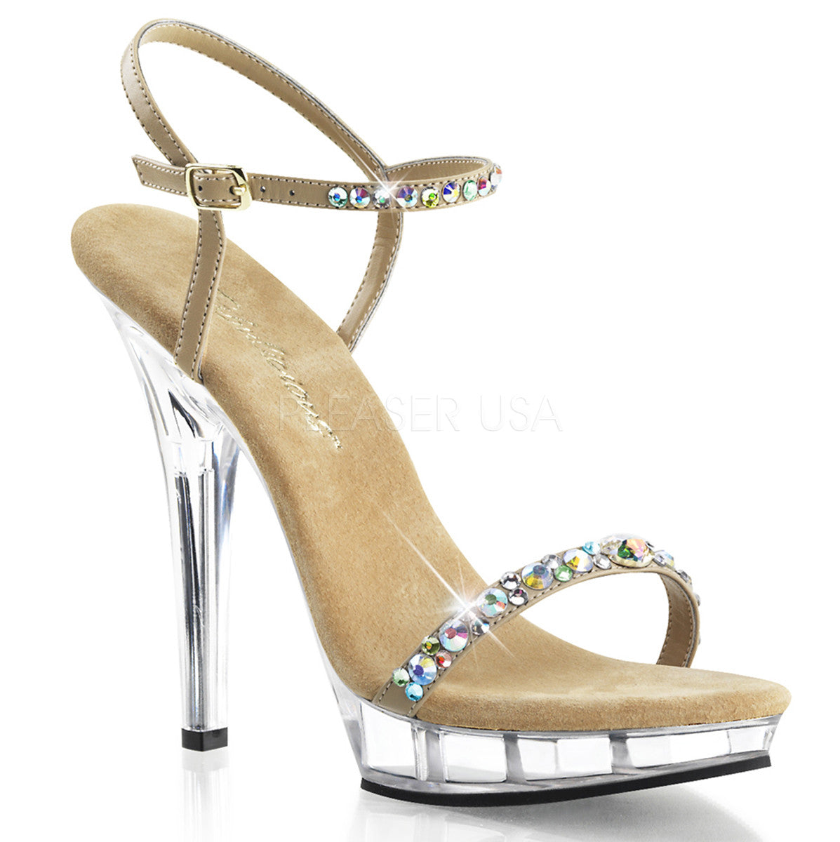 FABULICIOUS LIP-131 Taupe Pu-Clear Ankle Strap Sandals - Shoecup.com